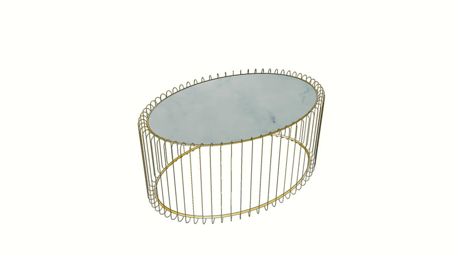 84552 Coffee Table Wire Uno Brass Marble 60x90cm