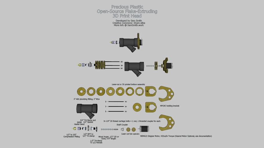 Precious Plastic Open Source Flake Extruding 3D Print Head (Version 2)