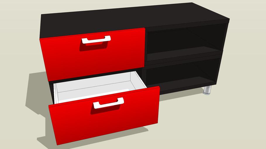 IKEA Besta rode lades (open) met zwart