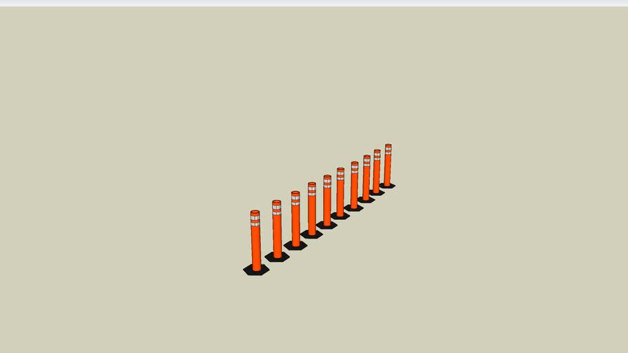 traffic bollard style cone row