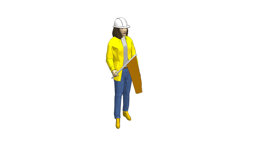 Construction Worker - Women with Flag