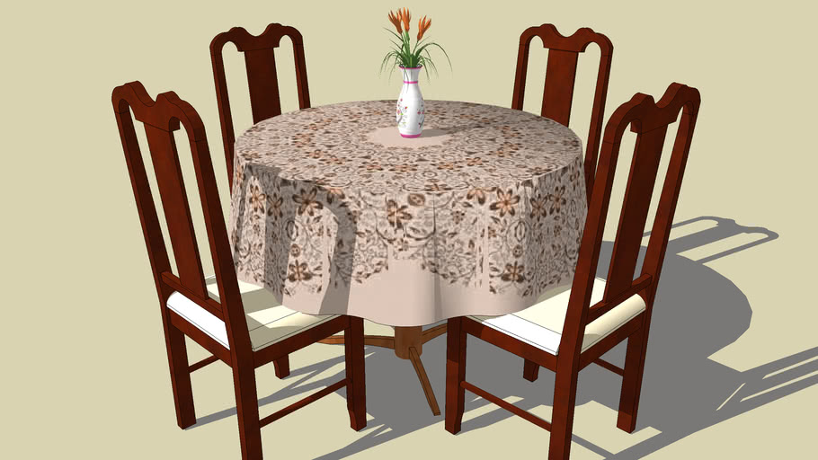 toalha redonda pérola floral com mesa+cadeiras e jarra