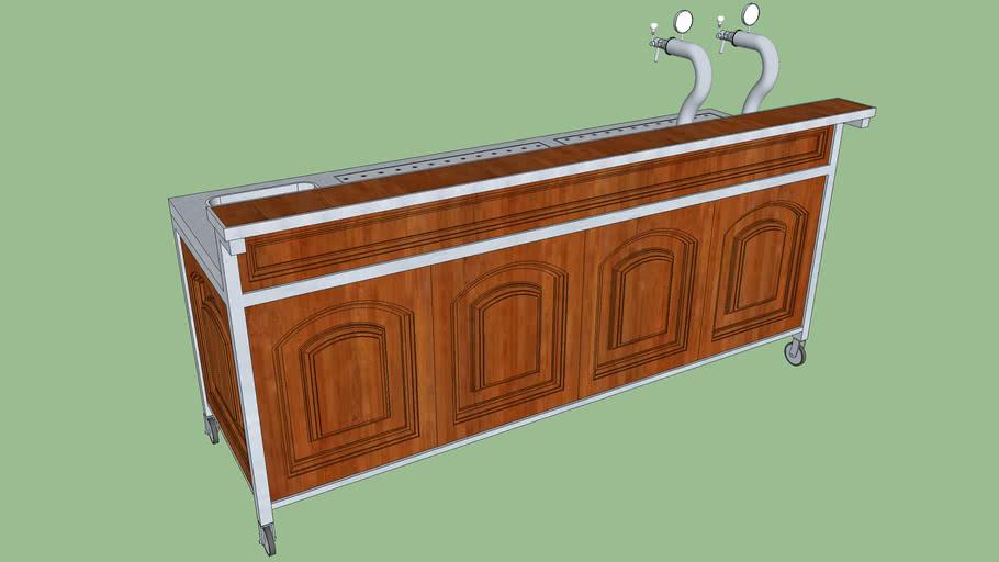 Mobiele bar, merkloos, hout-klassiek | Mobile bar, wood-classic