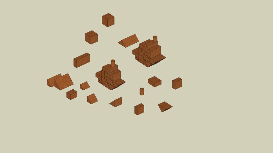 Wooden blcks and ship