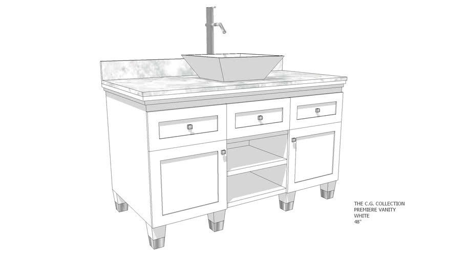 """The C.G. Collection - Premiere Vanity – White  – 48"""""""