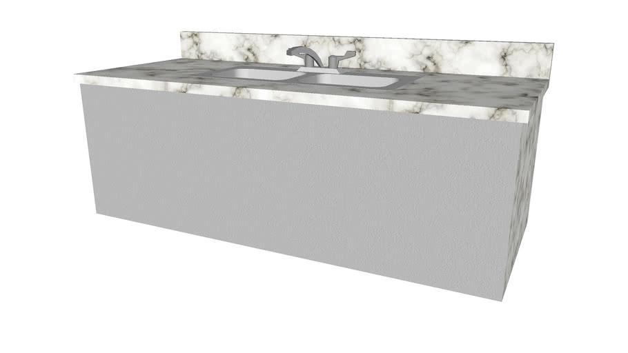 Kitchen Sink Double with Backsplash - Detailed