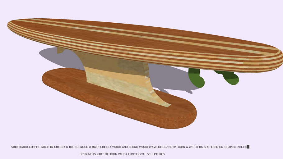 TABLE COFFEE SURFBOARD CHERRY & BLOND WOODS BY JOHN A WEICK RA