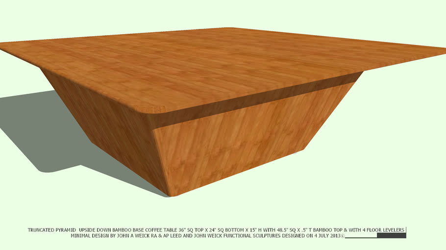 COFFEE TABLE TRUNCATED PYRAMID BAMBOO BASE & 48 TOP BY JOHN A WEICK RA