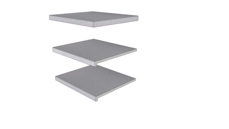 Urban Grey Porcelain Step 596 × 500 with  40mm Downstand