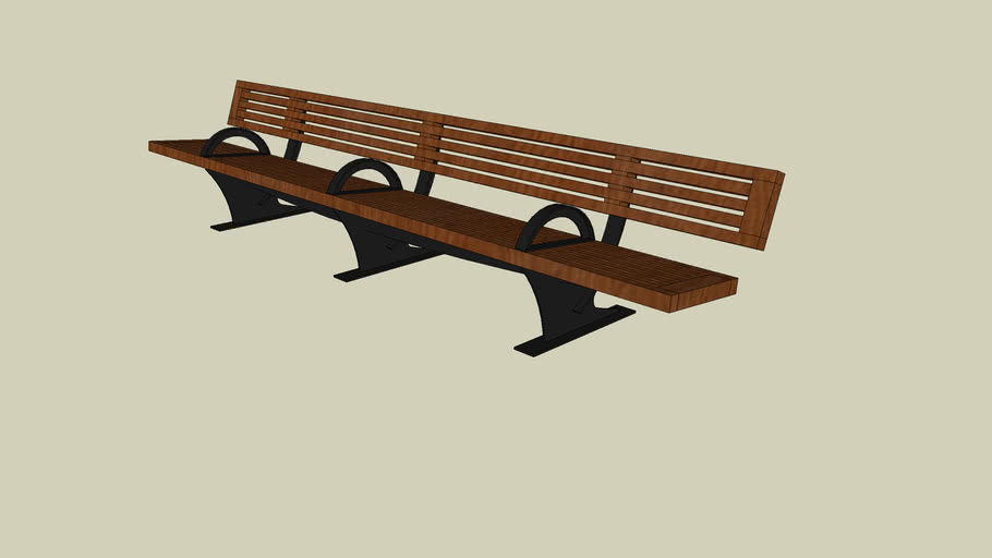 Forms+Surfaces® Pacifica™ Bench, 12 foot, full back, freestanding, three armrests