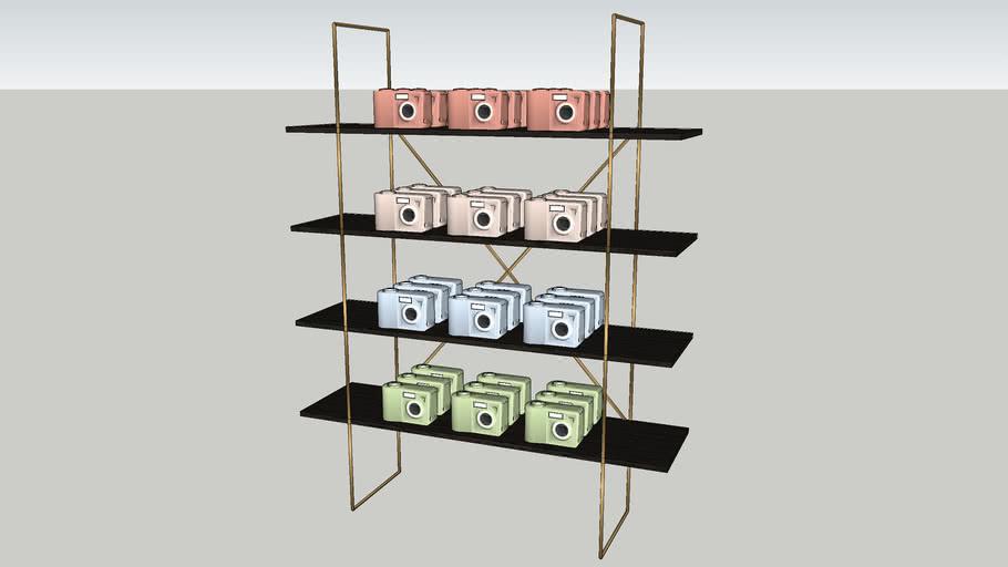 Cabinet with polaroidcameras
