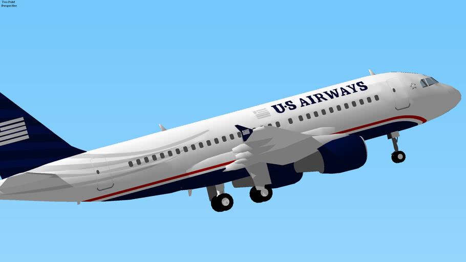 US Airways Airbus A319 Takeoff from Indianapolis, Indiana, USA.