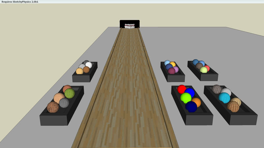 bowling alley with assorted color balls