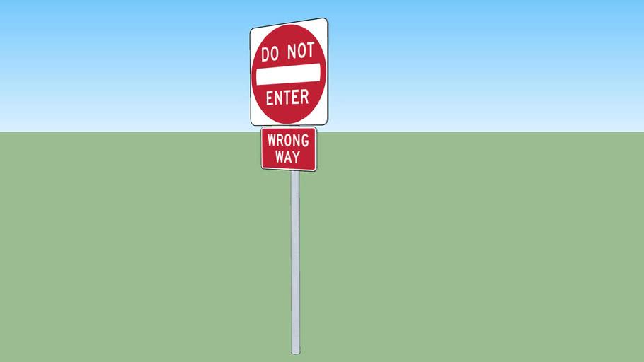Florida do not enter + wrong way sign