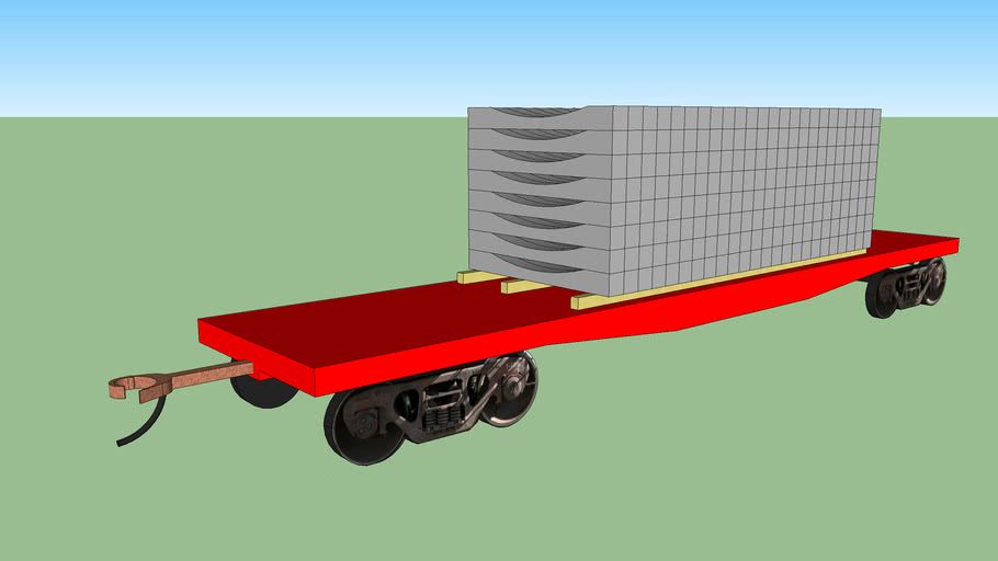 red flatcar with rocla(R) cement ties