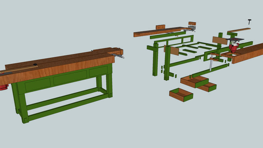 Workbench with router, end vise and front vise