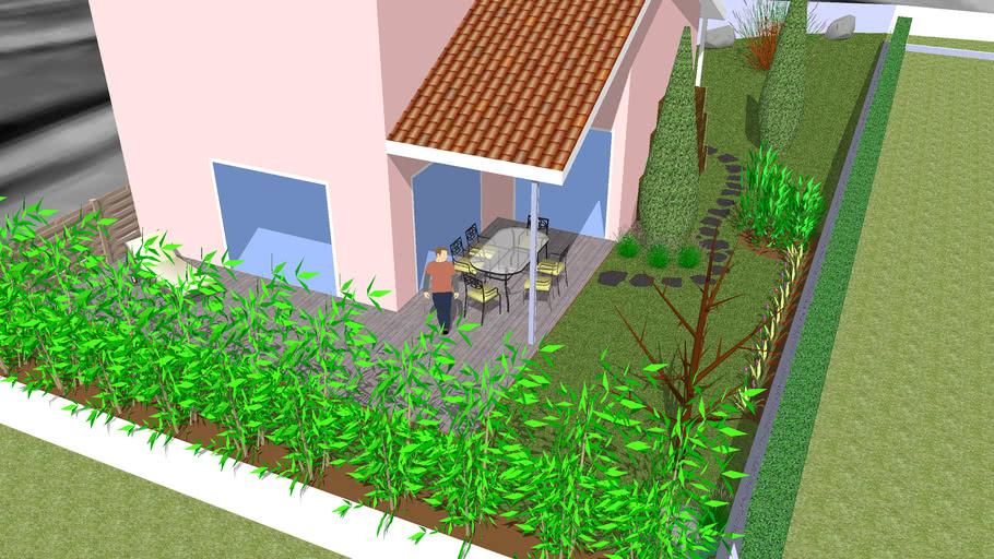 Un jardin en L à la campagne