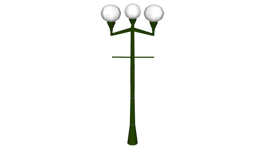 Triple globes antique lamp post