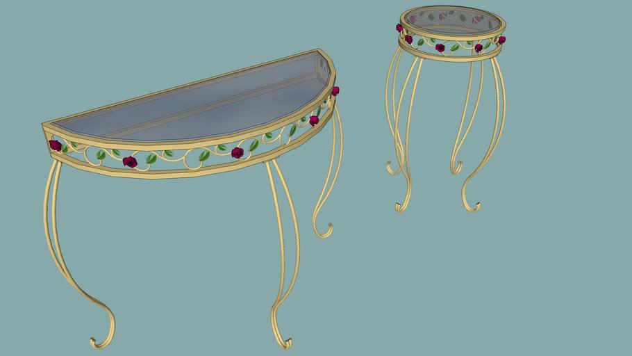 TABLES DEMI-LUNE et RONDE
