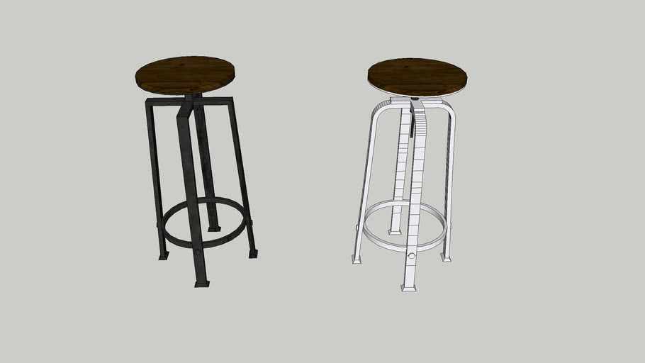 Black and white industrial stools