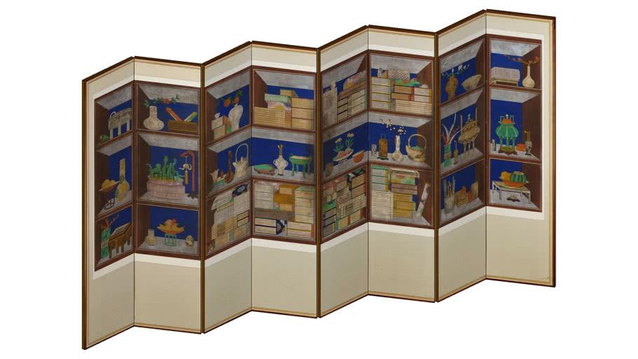 """한국 전통 병풍 책가도 Korean Traditional Folding Screen 19C """"ChaekGaDo"""" 3D Artworks"""