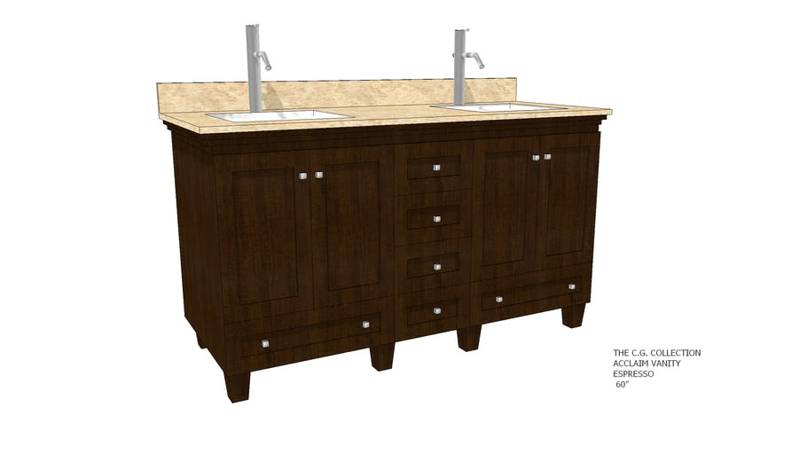 The C.G. Collection - Acclaim Vanity – Espresso Finish - 60""