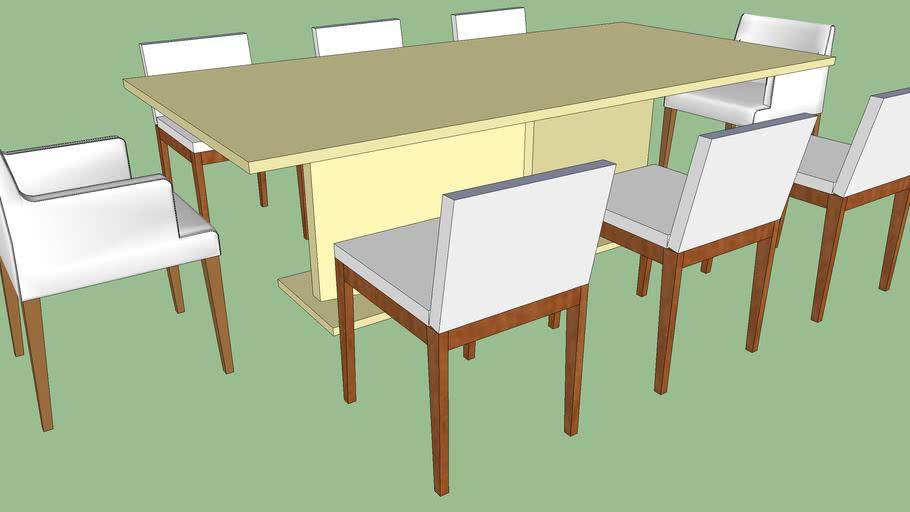 Mesa Retangular com 8 cadeiras