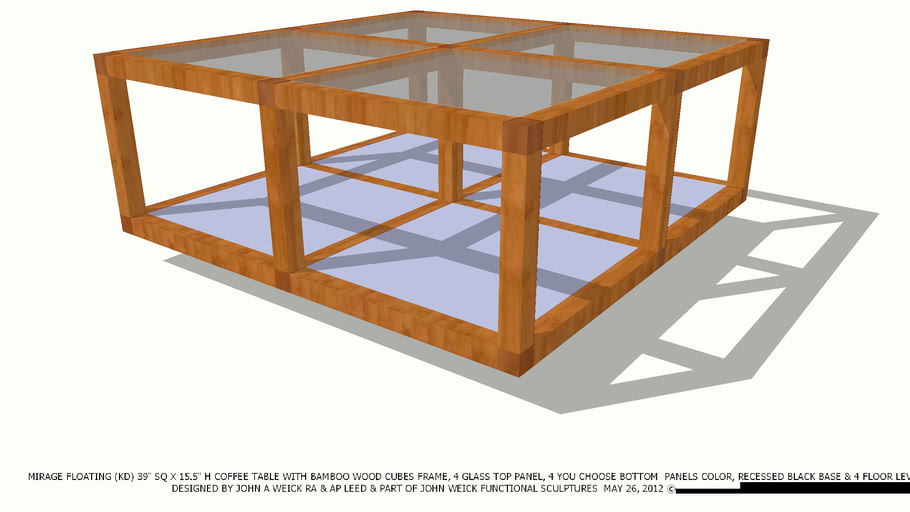 COFFEE TABLE 39 SQ BAMBOO CUBES CHOOSE PANEL COLOR BY JOHN A WEICK RA