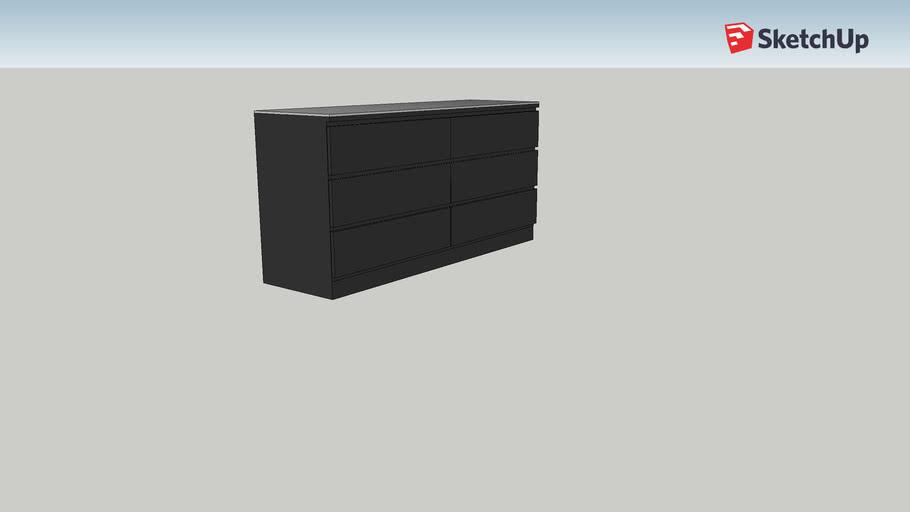 Malm Cassettiera 2 Cassetti.Cassettiera Malm Ikea 3d Warehouse