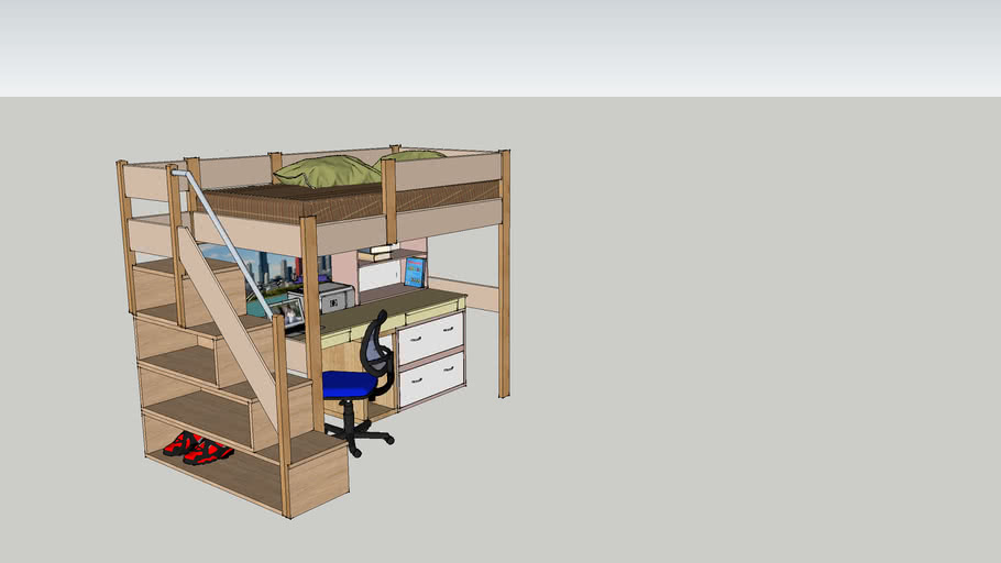 Bunk Bed W Study Desk Underneath 3d Warehouse
