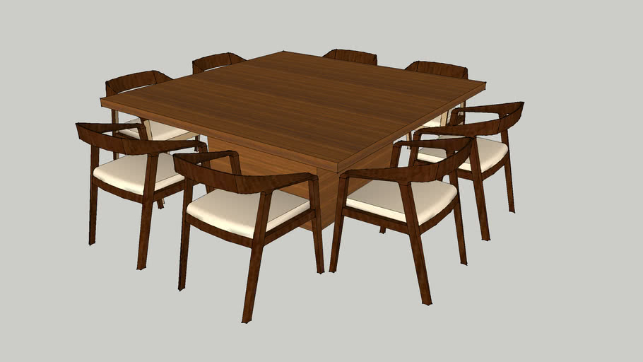 8 Seater Square Dining Set 3d Warehouse