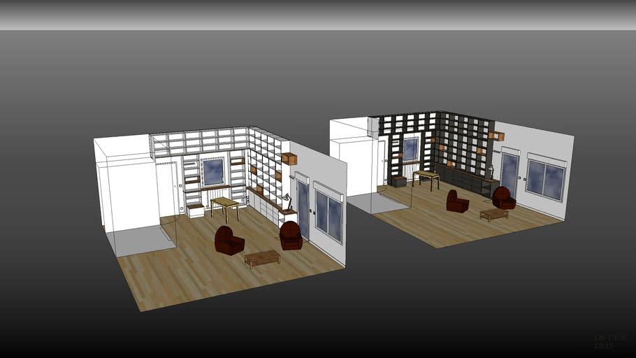 Bibliotehque salon FRO-BLA