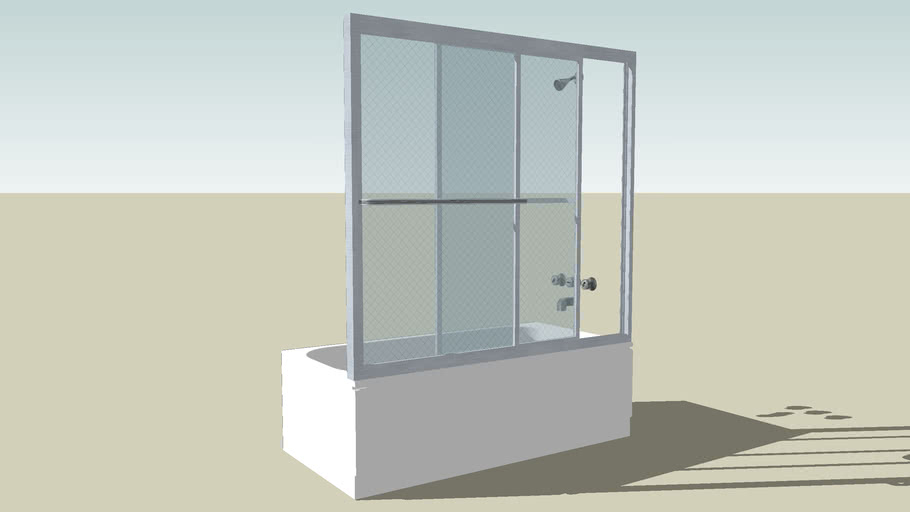 Standard 64'' tub with glass encloser