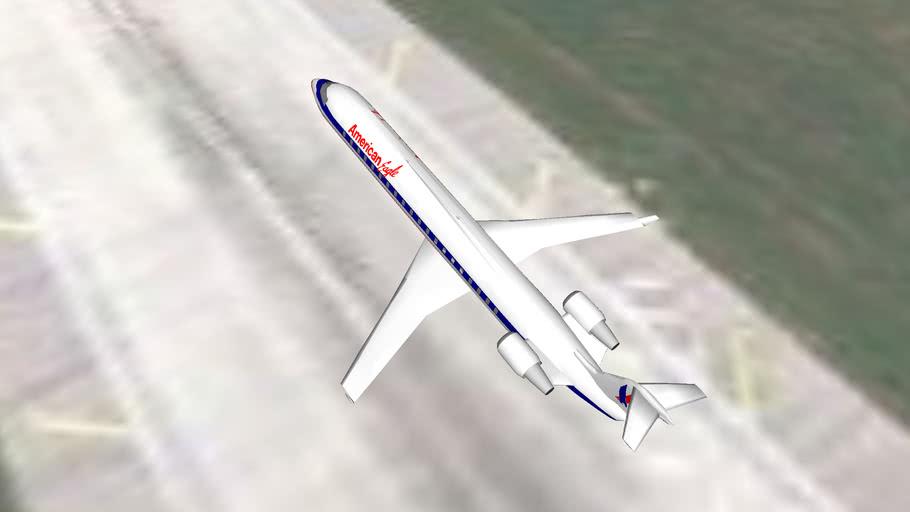 American Eagle CRJ-700 takeoff from Cleveland, Ohio , U.S.A
