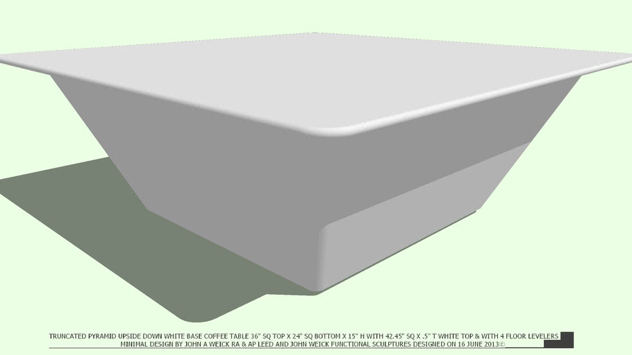 COFFEE TABLE WHTE TRUNCATED PYRAMID 42 WHITE TOP  BY JOHN A WEICK RA