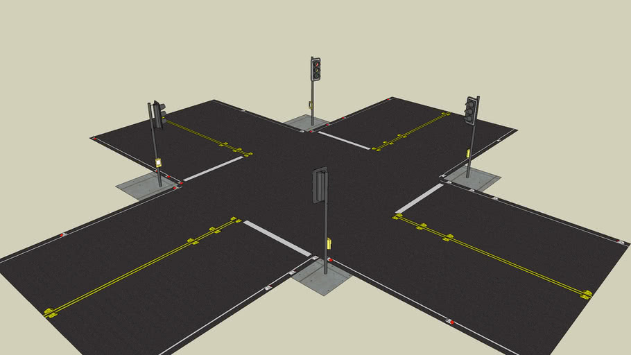 Road, 4 Way Intersection 2 Lanes