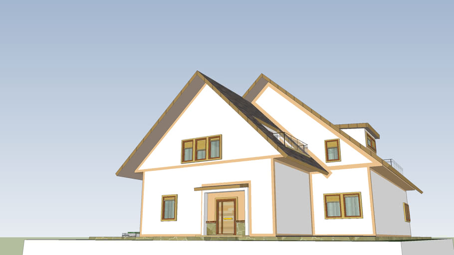 Housing with sloping roof