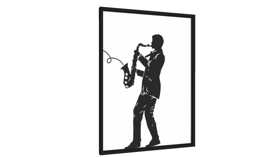 Quadro Jazz white music - Galeria9, por JulioJodas