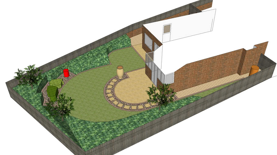 Large rear garden design with interest and planting by Mike Bradley