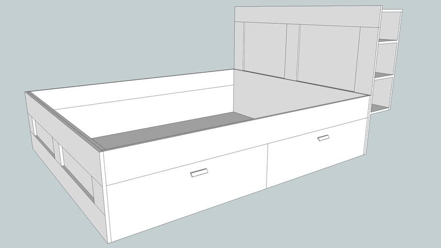 Ikea Bed Brimnes 160 X 200 3d, Ikea Bed Frame With Storage Brimnes