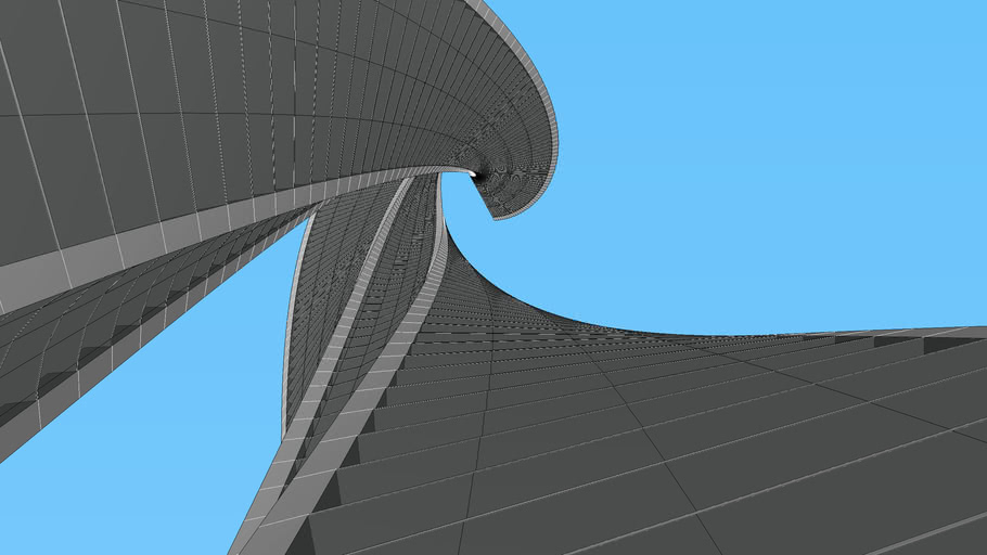 Two twisting skyscrapers