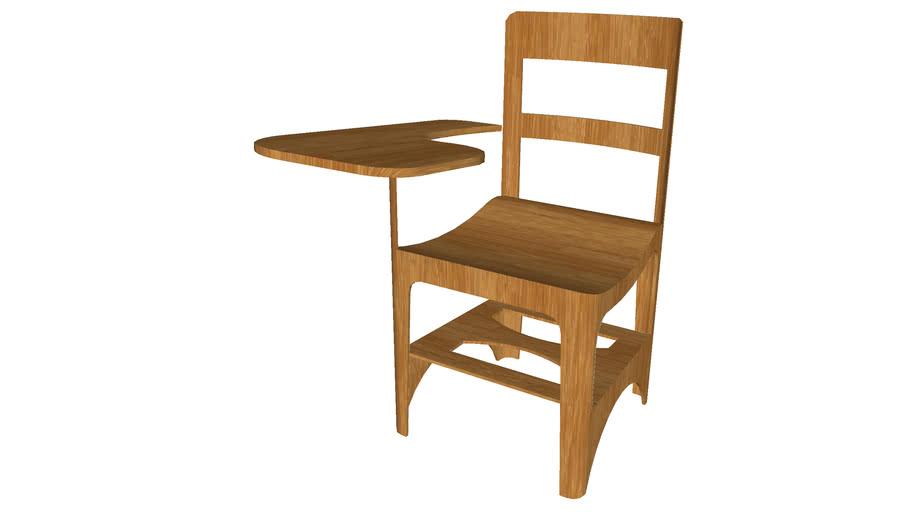 Wooden School Desk Detailed 3d, Wooden School Desk And Chair