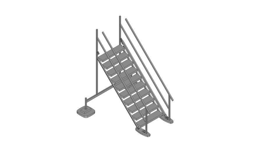 Walraven BIS Yeti® -  (HS-type) high stairs module to combine with Straight Platform, H190_W100_A45