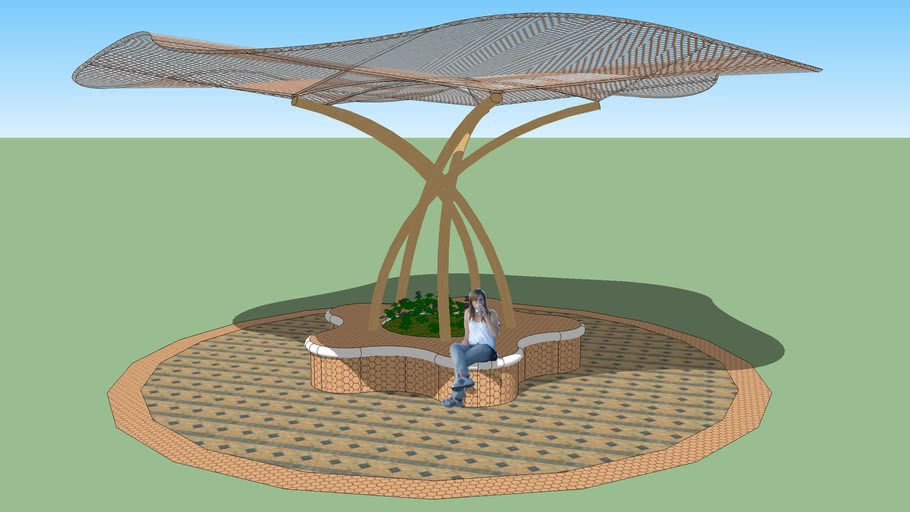 Wave Canopy & Planter Bench