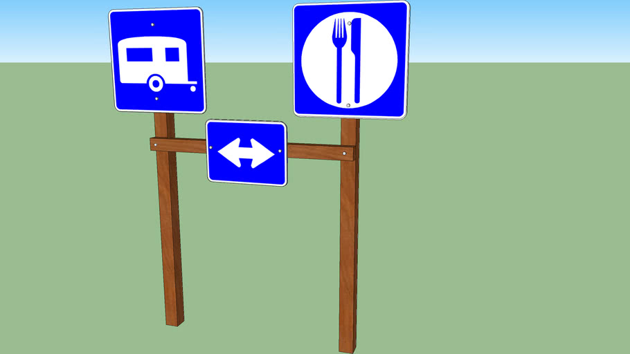 Directional sign 1 (RV parking and food)