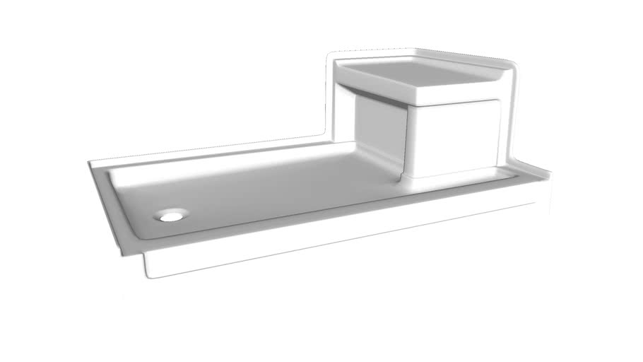 "K-1979 Tresham(R) 60"" x 36"" single threshold left-hand drain shower base with integral right-hand seat"