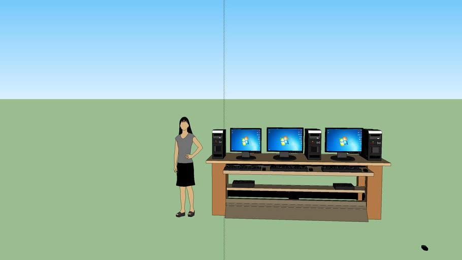 mesa, cpu, monitor, regulador, teclado y raton