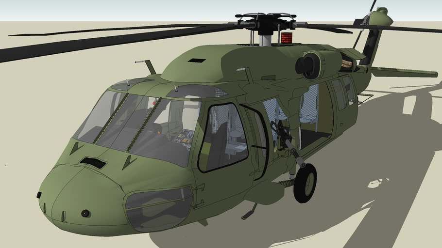 MH60J Black Hawk full interior and glass cockpit and waist gunners