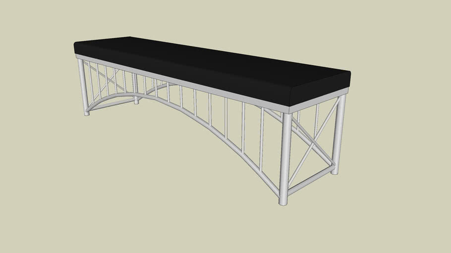 Forms+Surfaces® Bridge™ Bench, straight, black simulated leather upholstered seat