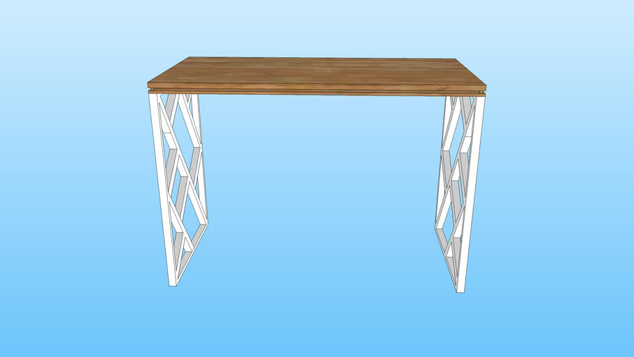 Birch Computer / Study Table with a gap between two pieces of wood (LOL) And my custom Legs